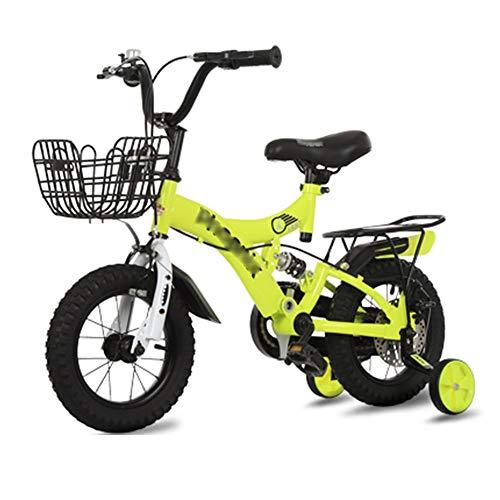 LJJL Bicicleta De Pie Ligero para Niños Y Niñas Bicicleta con Asiento Trasero 2-5-6-7-10 Años Bicicleta para Niños 12/14/16/18 Pulgadas 3 Colores Bicicletas Infantiles
