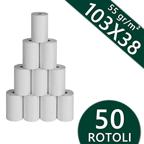50 Rotoli Termici 103 Mm X 38 Mt 55 Gr. Per Stampanti Zebra Carta Termica 1^ Qualità