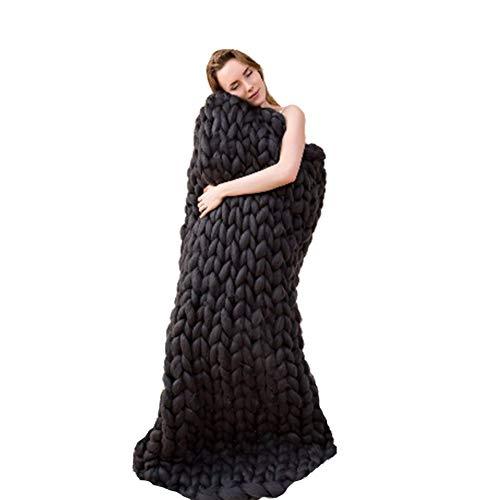 Chicti Gebreide deken, grof, enorme knopen voor op de bank, handgeweven, blokkeerbaar gebreid, deken, bed, sofa, warm voor thuisdecoratie A