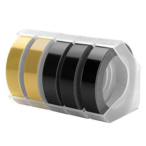 MarkFieldkompatibel Prägeband als Ersatz für Dymo Omega Junior 3D band 9mm x 3m, 3D Vinly Langlebige Kunststoff Prägebändern, DYMO Prägeetiketten, weiß auf schwarz/gold