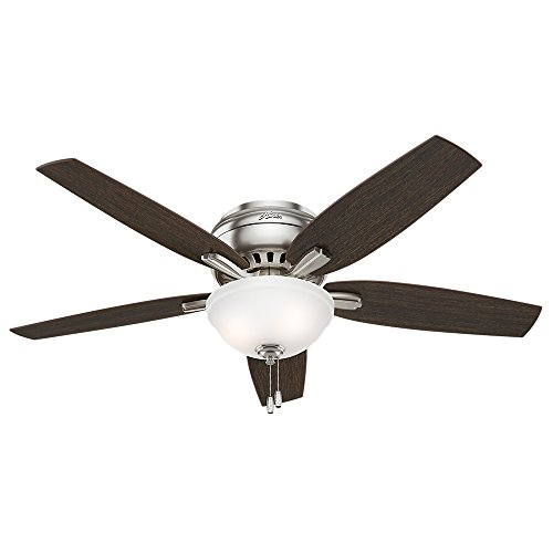 """Hunter Fan Company 53315 Hunter Newsome Indoor Low Profile Ceiling Fan with LED Light and Pull Chain Control, 52"""", Brushed Nickel"""