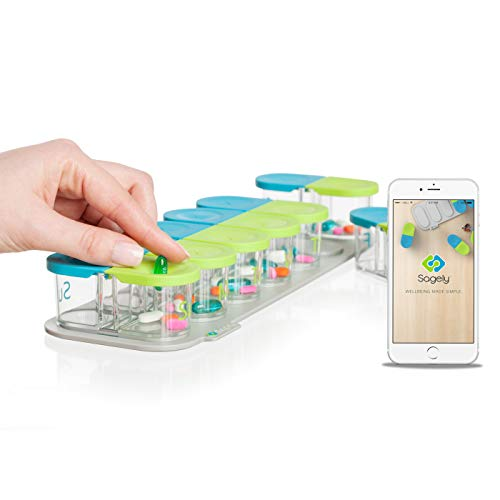 Sagely Smart XL Weekly Pill Organizer  Sleek AM/PM Twice a Day Pill Box with Free Smartphone Reminder App and 7 Day Travel Containers Large Enough to Fit Fish Oil and Vitamin D Supplements