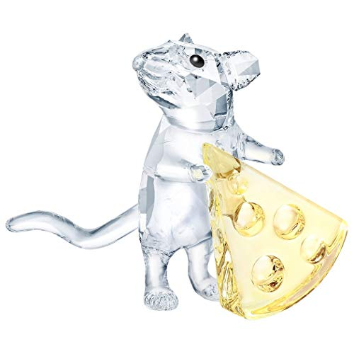 Swarovski Maus mit Käse Kristallfigur, Kristall, Transparent, Gelb, 3.2 x 3.8 x 2.3 cm
