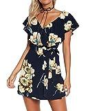 Yoins - Vestido de verano para mujer, corto, cuello en V, sin hombros, elegante, vestido de playa, minivestido de fiesta 07 XL