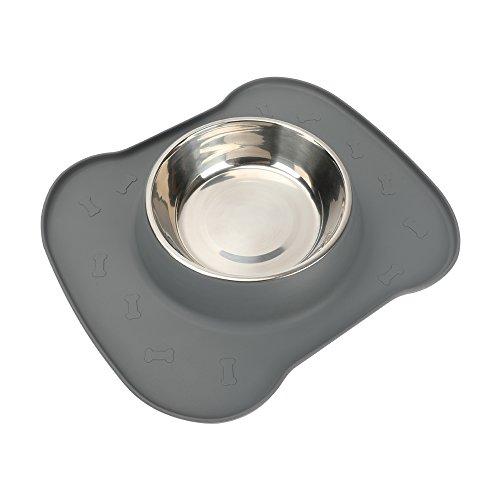 Ciotola singola per animali domestici, per animali domestici. Inclusa ciotole in acciaio inossidabile 1 Ciotola in silicone senza silicone e ciotola in silicone antiscivolo fino a 23 once