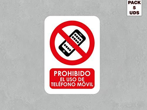 Pack 5 Señales de Prohibido el Uso de Teléfono Móvil | Medida 21x29,70cm | Señaletica en Material PVC 3 mm | Duradera y Económica