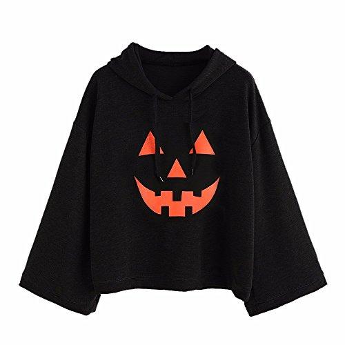 TUDUZ Frauen lose Große Größen Halloween Kostüm Langarm Hoodies T-Shirt Tops Bluse Pullover