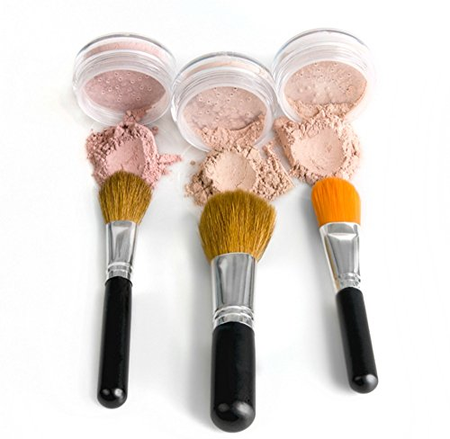 TRIO WITH BRUSHES (WARM Neutral Shade- Most Popular) Full Size Kit Mineral Makeup Brush Set Foundation Concealer Blush Bare Face Sheer Powder Cover