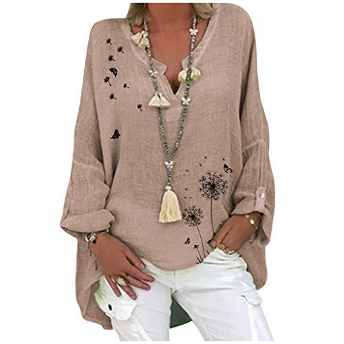 KissYou Sommer Tops für Frauen,Damen V-Ausschnitt Baumwolle Leinenhemd Lässig Langarm Bluse mit Blumendruck Plus Size(#14,L)