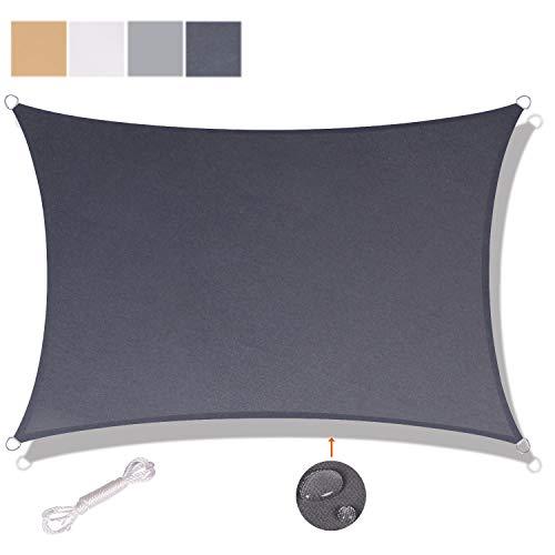 SUNNY GUARD Toldo Vela de Sombra Rectangular 5x5m Impermeable a Prueba de Viento protección UV para Patio, Exteriores, Jardín, Color Antracita