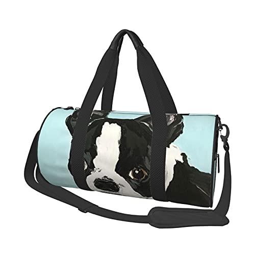 MBNGDDS Linda bolsa de viaje Boston Terrier, ligera, plegable, impermeable, con correa para el hombro, bolsa de deporte para hombres y mujeres, ver imagen, Talla única,