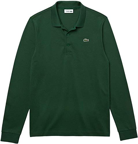 Lacoste Herren DH2883 Polo Shirt Langarm, sportlich Polo-Shirt Tshirt T-Shirt Oberteil Langarm-Shirt Sweatshirt Tennis Golf,Green/Green (S30),L (5)