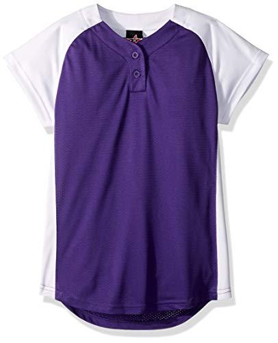 Alleson Ahtletic Mädchen Mädchen Dura-Light Fastpitch/Softball Jersey, Mädchen, violett/weiß, Large