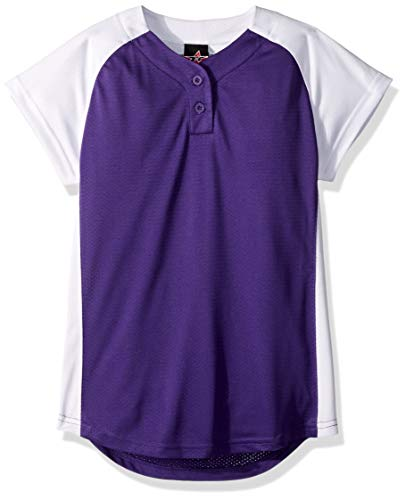 Alleson Ahtletic Girls Dura-Light Fast pitch Softball Jersey, Purple/White, Large
