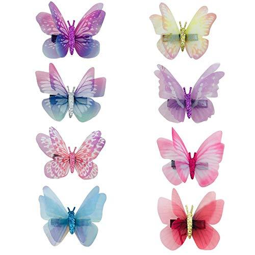 16 Pcs Bowknot Pinces À Cheveux Noeud Papillon Double Couche Onirique Simulation Tulle Papillon En Forme De Barrettes Épingles À Cheveux Pour Les Fill