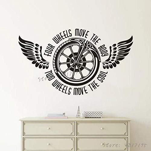 Faucet oersing Wall decals poster Motorcycle Wheels Vinyl Wall Sticker Two Wheels Move The Soul Quote Wall Decal Bike Wings Wheel Murals Garage Décor 57x33cm