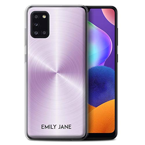 Personalized Brushed Metal Effect Gel/TPU Case for Samsung Galaxy A31 2020 / Lavender Purple Design/Initial/Name/Text DIY Cover
