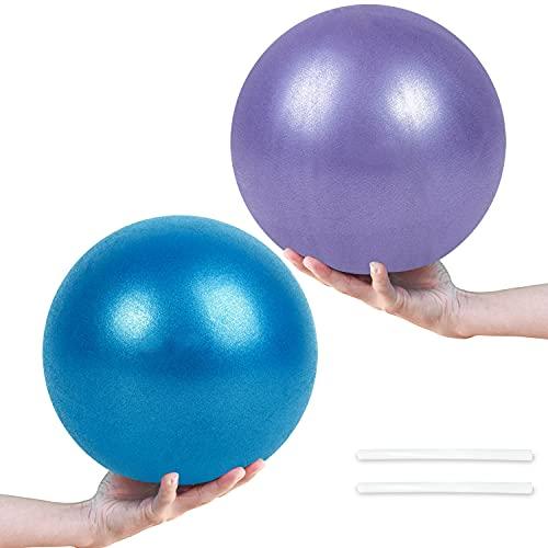 Pelota de Pilates de Yoga de 25 cm, 2 Pelotas de Ejercicio Pequeñas, Mini Pelota de Pilates Suave Antideslizante para Gimnasio, Yoga, Masaje y Pilates en Casa (Púrpura y Azul)