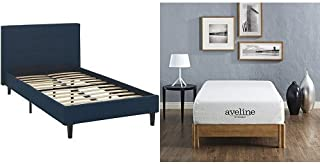 Modway Linnea Twin Bed in Azure with Modway Aveline 10