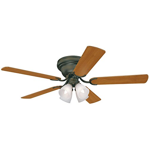 Westinghouse Lighting 7216200 Contempra IV 52-Inch Indoor Ceiling Fan, Light Kit with Frosted Ribbed Glass, Oil Rubbed Bronze (Includes Bulbs)