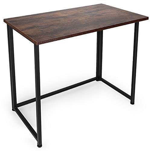 Escritorio de ordenador plegable para espacios pequeños, escritorio de oficina en el hogar, plegable, mesa de ordenador, escritorio de escritura, mesa de estudio compacto (marrón rustico)