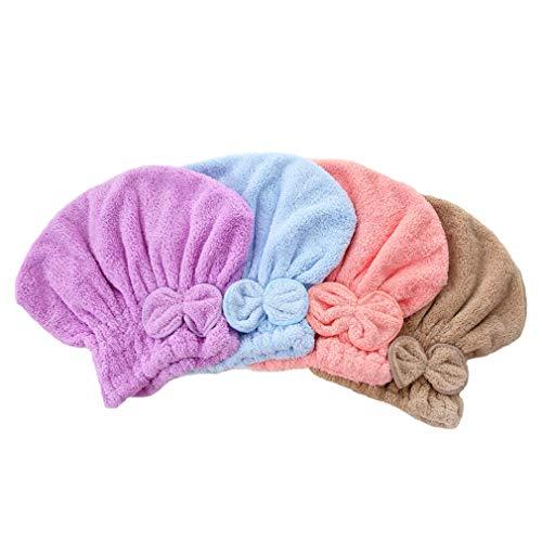Nunubee 2PCS Chapeau de cheveux secs casquette de cheveux secs mignon femme, casquette de spa de bain de douche ultra absorbante bowknot mignon, capuchon de séchage de cheveux (Rose)