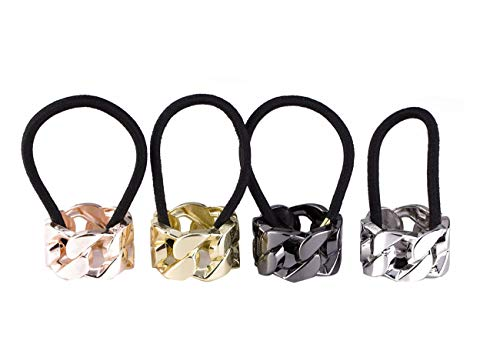 4PCS Fashion Zinc Alloy Ponytail Cuff Elastic Hair Tie Ponytail Holder Punk Gothic Hair Cuff Hair Rope Hair Band Hair Clips for Women (B#)