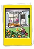 NobleWorks - Happy Halloween Card Funny - Adult Fun Cartoon Humor, Spooky Greeting Notecard with Envelope - Rude Vegetables C6094HWG