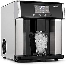 Klarstein Eiszeit Silver Edition - Máquina de cubitos de hielo, 3 tamaños, 10-15 kg/24h, Display LCD, Depósito de agua 3 L, Capacidad de hielo 600 g, Alarma, Carcasa acero inoxidable, Plata