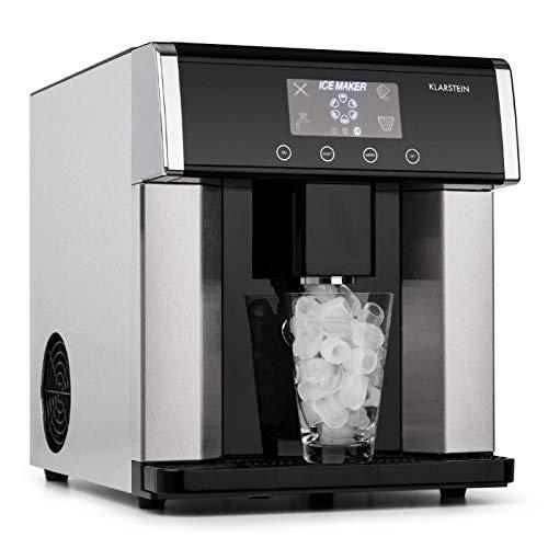 Klarstein Eiszeit - Máquina de cubitos de hielo, 3 tamaños, 10-15 kg/24h, Display LCD, Depósito de agua 3 L, Capacidad de hielo 600 g, Alarma, Carcasa acero inoxidable, Plateado