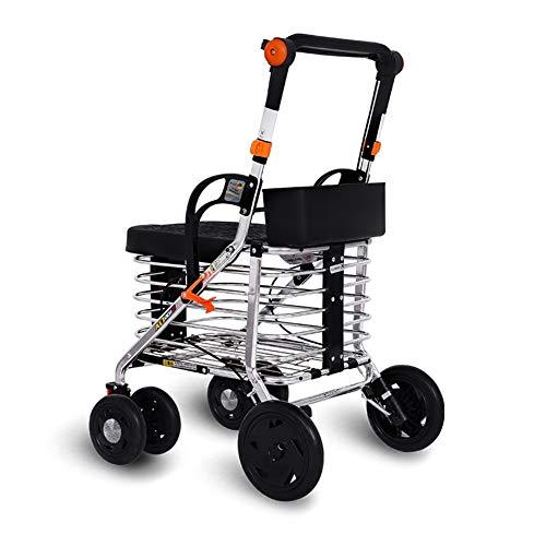 SXFYMWY Tragbare Gehhilfe Leichte Aluminiumlegierung Multifunktions Faltbare Einstellbare Design Old Man Trolley