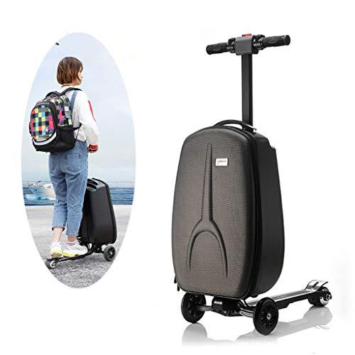Maleta inteligente para montar en scooter, equipaje micro con barra elástica oculta por 12 años + adolescente adulto (negro)