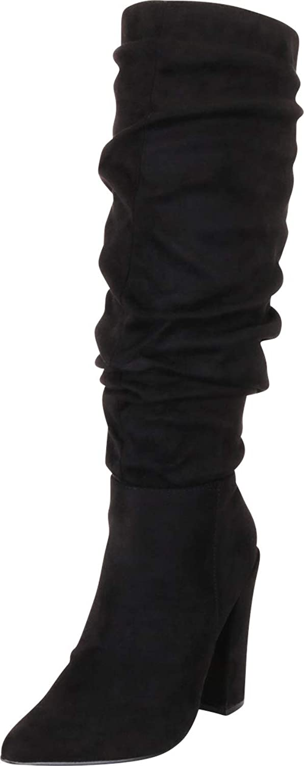 Cambridge Select Women's Pointed Toe Slouch Chunky High Heel Knee-High Boot