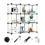Greenstell 9 Cubos Organizadores para Almacenamiento con Puertas, Estantes de Plástico Apilables DIY, Multifuncionales, Modulares, Estantería de Armario para Libros, Ropa, Juguetes(Blanco)