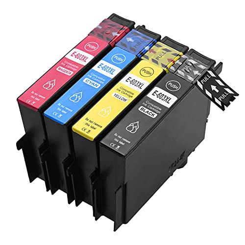Topuality Cartuchos de tinta de repuesto para E-pson 603XL 603 XL Compatible con E-pson XP-2100 / XP-2105 / XP-3100 / XP-3105 / XP-4100 / XP-4105 E-pson Work-Force WF-2810DWF / WF-2830DWF