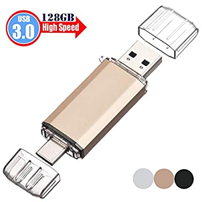USB C Memory Stick 128GB, USB 3.0 Type C Dual OTG Flash Drive EASTBULL Pen Drive for USB-C Smartphones,Other Devices Support Type-C(Gold)