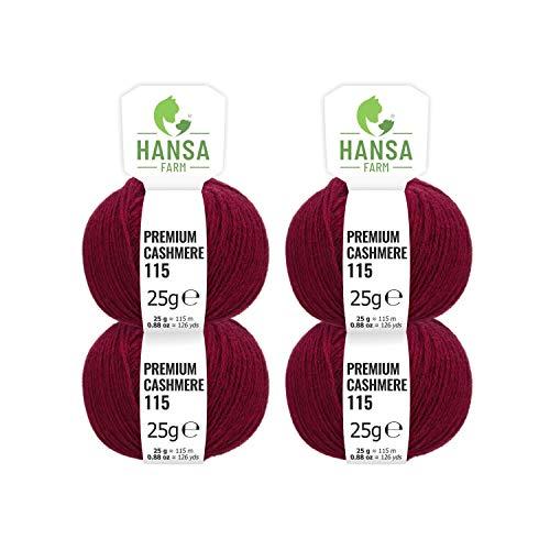 HANSA-FARM 100% Lana de Cachemir Premium en 12 Colores (Suave, no Pica) - Set de 100g (4X 25g) Fingering - Lana Fina de Cachemira para Punto y Ganchillo Rojo Vino