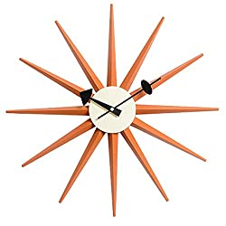 SHISEDOCO George Nelson Sunburst Clock in Orange, Decorative Modern Silent Wall Clock for Home, Kitchen,Living Room,Office etc. - Colorful Wooden Mid Century Retro Design(Full Range Available)