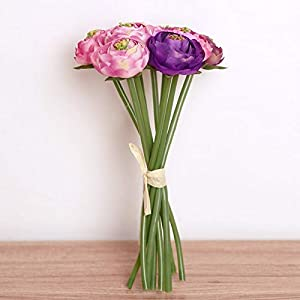 Artificial and Dried Flower 9heads/Bunch Simulation Artificial Silk Flowers Ranunculus Romantic Wedding/Bridal/Home Decorative Decor Flower Long 22cm