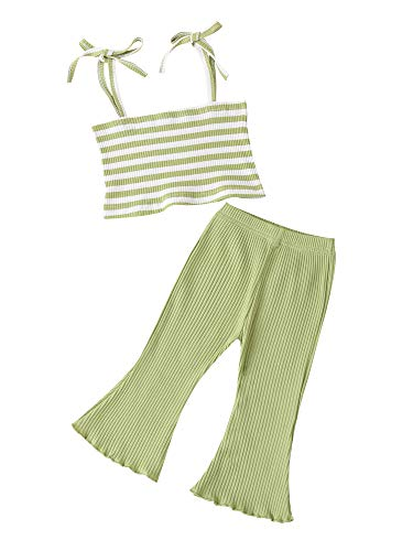 Conjunto de 2 piezas de ropa de verano para recién nacidas y pantalones acampanados elásticos