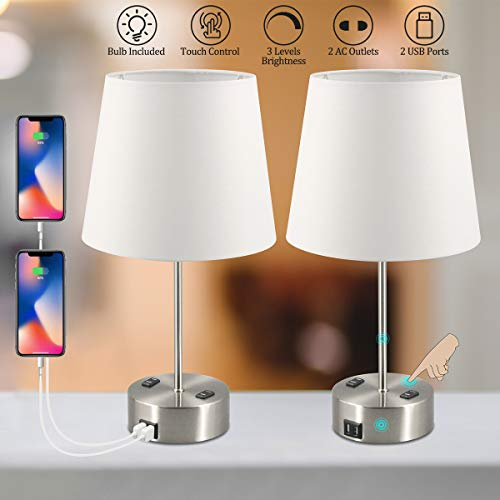 USB Table Lamps, 3-Way Touch Control Table Lamp Dimmable, Modern Nightstand Lamps Set of 2, with Dual USB Charging Port and Dual AC Outlet E26 Bulb Include, Suitable for Bedroom Living Room Office