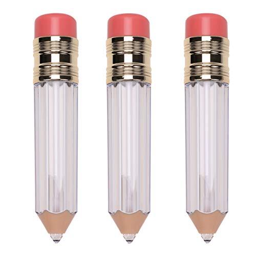 Minkissy 3Pcs Tubes de Brillant à Lèvres Tubes de Brillant en Forme de Crayon Conteneurs Tube de Rouge à Lèvres Tube de Vernis à Lèvres pour Femmes (Transparent)