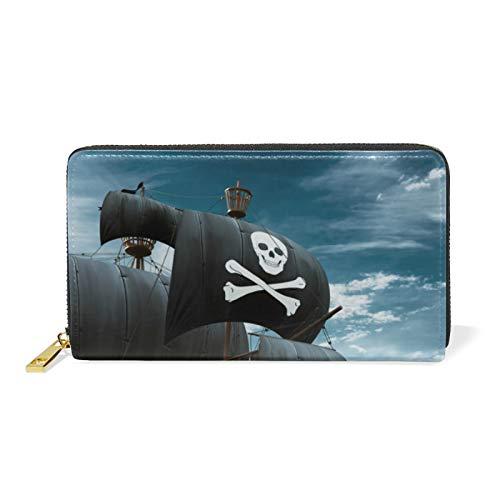 RELEESSS - Cartera de piel auténtica con cremallera para barco pirata, para hombres y mujeres
