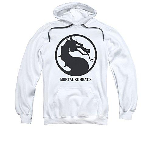 Mortal Kombat X Fighting Video Game Dragon Seal Logo Sudadera con capucha para adulto - Blanco - 2X