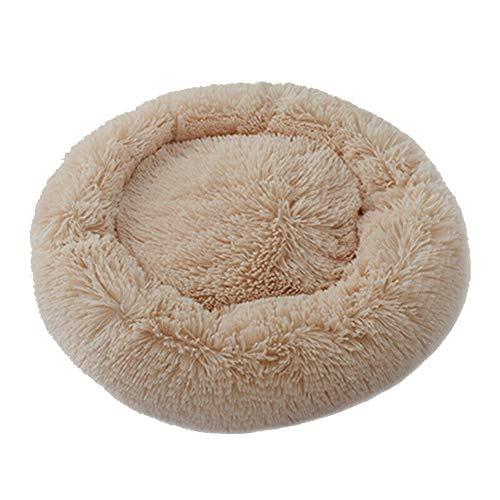 Asseny Haustier-beruhigendes Bett-rundes Nest, Haustier Hund Katze Beruhigendes Bett Rundes Nest Warmer weicher Plüsch Bequem zum Schlafen Winter