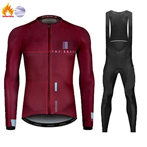 Polar Térmico de Invierno Maillot de Ciclismo, Ropa de Bicicleta MTB para Hombre con Pantalones con Pechera de Gel 9D Cálidos (Color : B, Talla : M)