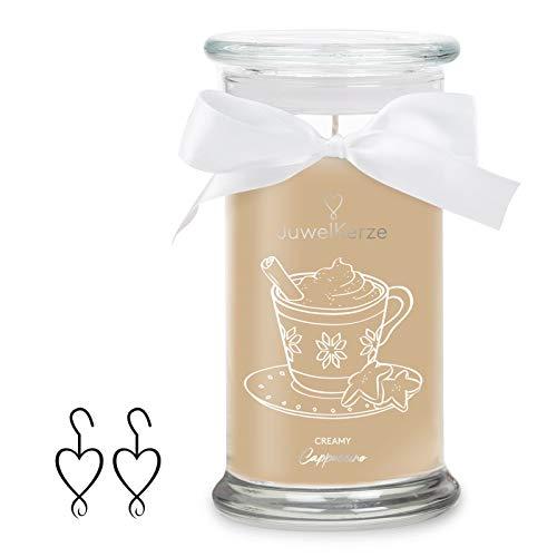 JuwelKerze Schmuckkerze 'Creamy Cappuccino' große braune Duftkerze mit echtem Silber Schmuck (Ohrringe) - Kerze mit Schmucküberraschung als Geschenk für sie