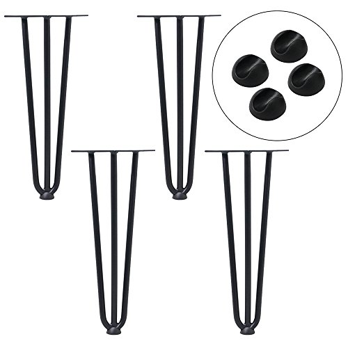 AUFUN Haarnadel Tischbeine Schwarz 20 cm Hairpin Legs 4er Set mit 3 Stangen Haarnadelbeine Möbelbein Tischgestell Tischkufen für Esstisch Couchtisch Schreibtisch Kaffeetisch, inklusive Bodenschoner