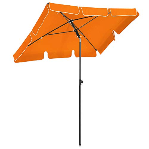 SONGMICS Parasol rectangular para balcón 2 x 1,25 m, Protección UPF 50+, Parasol inclinable, Lona recubierta de PA, Bolsa de transporte, Terraza jardín, Base no incluida, Naranja GPU25OG