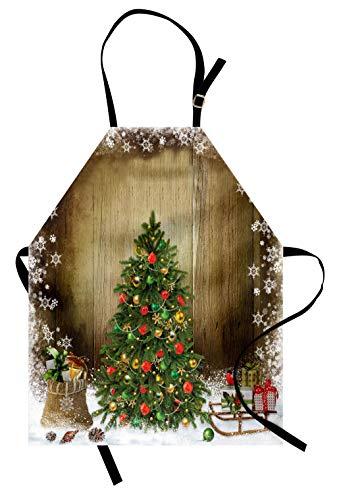 ABAKUHAUS Navidad Delantal de Cocina, Pino Festivo con Cajas de Regalos sobre Tabla Nevada Tema Navidad Campestre, Apto para Uso en Interiores y Exteriores Resiste la Suciedad, Mutlicolor